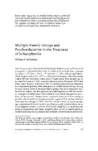 Multiple-Family Groups and Psychoeducation in the Treatment of Schizophrenia