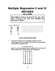 Multiple Regression II and III REVISED
