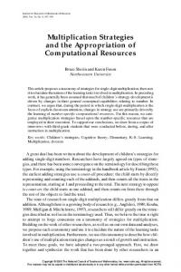 Multiplication Strategies and the Appropriation of Computational Resources