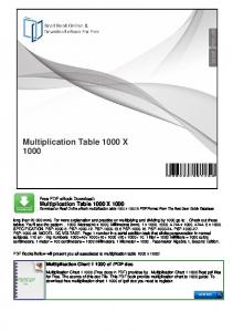 Multiplication Table 1000 X 1000