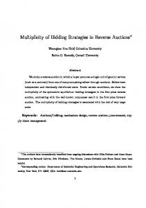 Multiplicity of Bidding Strategies in Reverse Auctions