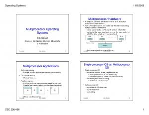 Multiprocessor Operating Systems. Multiprocessor Applications