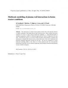 Multiscale modelling of plasma-wall interactions in fusion reactor conditions