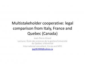 Multistakeholder cooperative: legal comparison from Italy, France and Quebec (Canada)