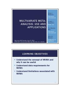 MULTIVARIATE META- ANALYSIS: USE AND APPLICATIONS