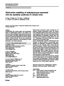 Multivariate modelling of endophenotypes associated with the metabolic syndrome in Chinese twins