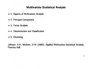 Multivariate Statistical Analysis