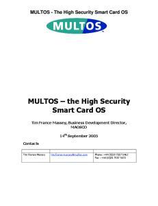 MULTOS the High Security Smart Card OS