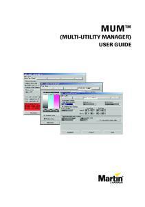 MUM (MULTI-UTILITY MANAGER) USER GUIDE