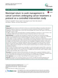 Municipal return to work management in cancer survivors undergoing cancer treatment: a protocol on a controlled intervention study