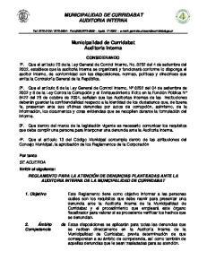 MUNICIPALIDAD DE CURRIDABAT AUDITORIA INTERNA. Municipalidad de Curridabat Auditoria Interna