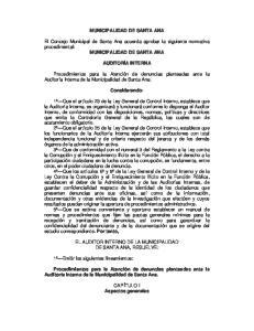 MUNICIPALIDAD DE SANTA ANA. El Concejo Municipal de Santa Ana acuerda aprobar la siguiente normativa procedimental: MUNICIPALIDAD DE SANTA ANA