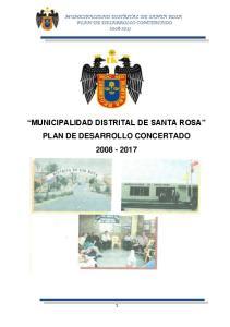 MUNICIPALIDAD DISTRITAL DE SANTA ROSA PLAN DE DESARROLLO CONCERTADO