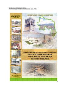 MUNICIPALIDAD PROVINCIAL DE ESPINAR PLAN ESTRATEGICO DE DESARROLLO ECONOMICO LOCAL (PEDEL)