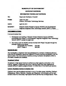 MUNICIPALITY OF CHATHAM-KENT CORPORATE SERVICES INFORMATION TECHNOLOGY SERVICES