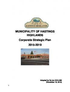 MUNICIPALITY OF HASTINGS HIGHLANDS Corporate Strategic Plan