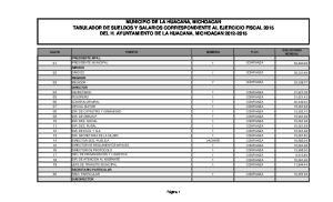 MUNICIPIO DE LA HUACANA, MICHOACAN TABULADOR DE SUELDOS Y SALARIOS CORRESPONDIENTE AL EJERCICIO FISCAL 2015 DEL H