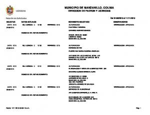 MUNICIPIO DE MANZANILLO, COLIMA DIRECCION DE PADRON Y LICENCIAS