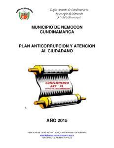MUNICIPIO DE NEMOCON CUNDINAMARCA PLAN ANTICORRUPCION Y ATENCION AL CIUDADANO