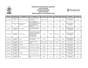 MUNICIPIO DE TEQUISQUIAPAN QUERETARO OFICIALIA MAYOR CONTROL PATRIMONIAL INVENTARIO FISICO BIENES MUEBLES AL: 31 DE MARZO DE 2015