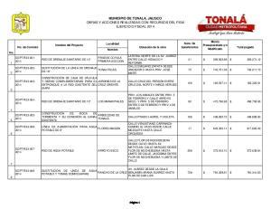 MUNICIPIO DE TONALA, JALISCO OBRAS Y ACCIONES REALIZADAS CON RECURSOS DEL FISM EJERCICIO FISCAL 2014