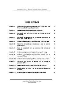 Municipio El Cocuy. Esquema de Ordenamiento Territorial INDICE DE TABLAS