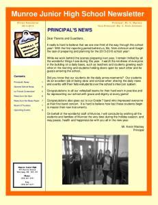 Munroe Junior High School Newsletter