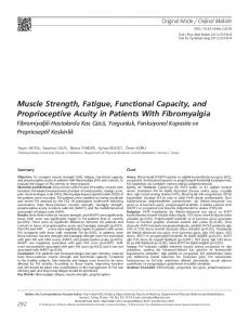 Muscle Strength, Fatigue, Functional Capacity, and Proprioceptive Acuity in Patients With Fibromyalgia