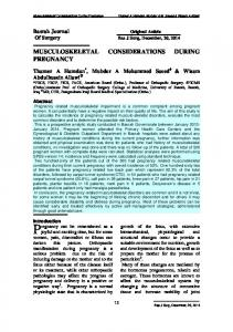 MUSCULOSKELETAL CONSIDERATIONS DURING PREGNANCY
