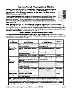 Mushroom Toxins & Poisonings (N.J. & NE U.S.A.)