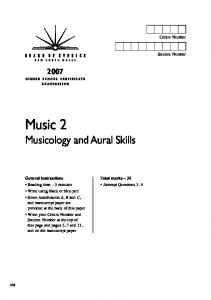 Music 2 Musicology and Aural Skills
