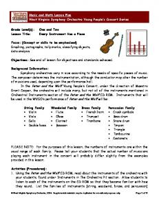 Music and Math Lesson Plan West Virginia Symphony Orchestra Young People s Concert Series