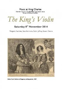 Music at King Charles Chamber music at Tunbridge Wells most historic venue Member of Sounds of the Wells