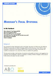 MUSICIAN S FOCAL DYSTONIA