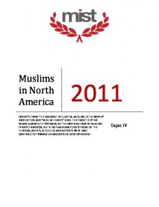 Muslims. in North America. Topic IV