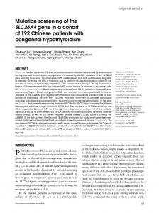 Mutation screening of the SLC26A4 gene in a cohort of 192 Chinese patients with congenital hypothyroidism