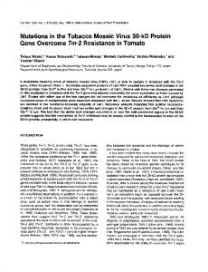 Mutations in the Tobacco Mosaic Virus 30-kD Protein Gene Overcome Tm-2 Resistance in Tomato