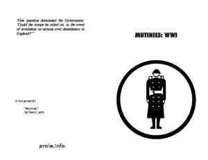 MUTINIES: WWI. prole.info