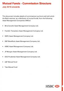 Mutual Funds - Commission Structure