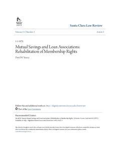 Mutual Savings and Loan Associations: Rehabilitation of Membership Rights