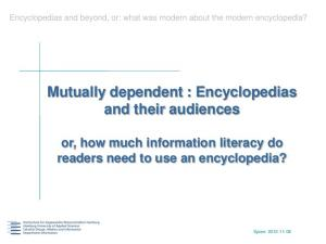 Mutually dependent : Encyclopedias and their audiences