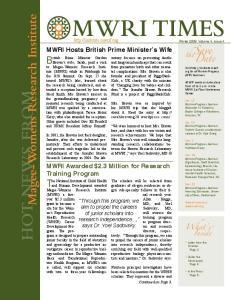 MWRI Hosts British Prime Minister s Wife