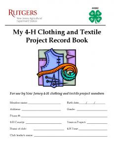 My 4-H Clothing and Textile Project Record Book