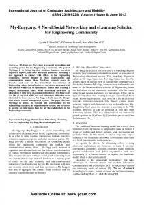 My-Engg.org: A Novel Social Networking and elearning Solution for Engineering Community