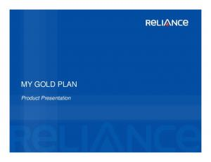 MY GOLD PLAN. Product Presentation