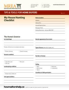 My House Hunting Checklist