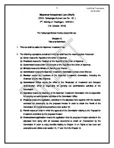 Myanmar Investment Law (Draft)