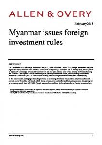 Myanmar issues foreign investment rules