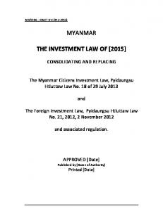 MYANMAR THE INVESTMENT LAW OF [2015]