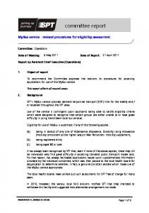 MyBus service : revised procedures for eligibility assessment